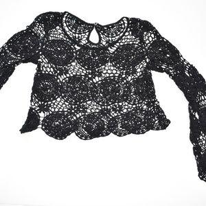 Kendall & Kylie Black Crochet Crop Top